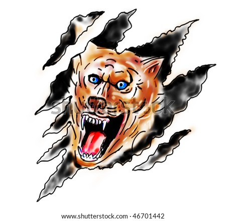 drawing of an Angry wolf inside paw tear scratch marks - stock photo