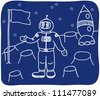 Drawing of an astronaut on the planet - illustration - stock photo
