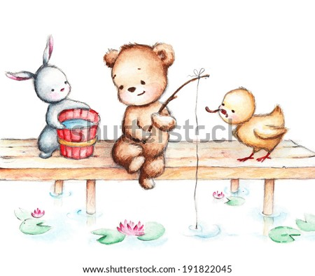 Drawing of Animals fishing - stock photo