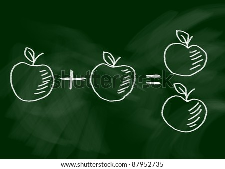 Drawing of apples - stock photo