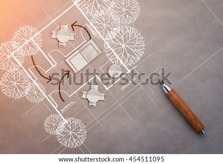 drawing of architecture blueprints and house plans on grey texture background.jpg - stock photo