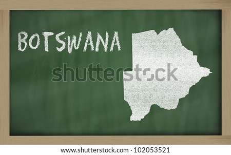 drawing of botswana on blackboard, drawn by chalk - stock photo