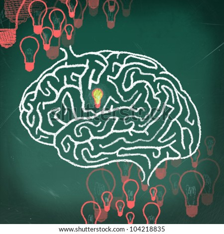 Drawing of Brain maze puzzle on the chalkboard, thinking human concept - stock photo