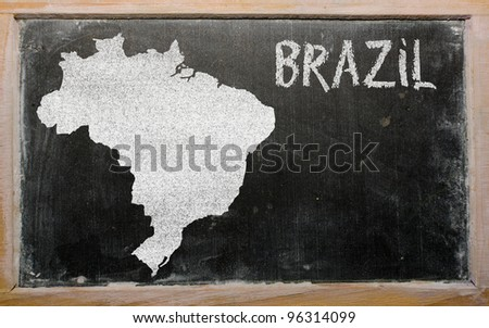 drawing of brazil on blackboard, drawn by chalk - stock photo