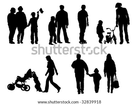 drawing of children from their parents. Isolated silhouettes on white background