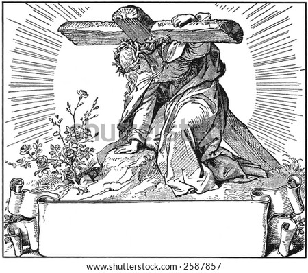Drawing of Christ and cross - stock photo