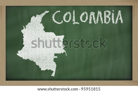 drawing of colombia on blackboard, drawn by chalk - stock photo