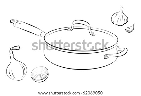 Drawing of cooking pan with onion and garlic. - stock photo