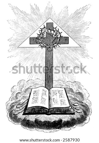 Drawing of cross and bible - stock photo