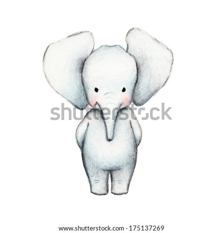 Drawing of Cute Elephant - stock photo