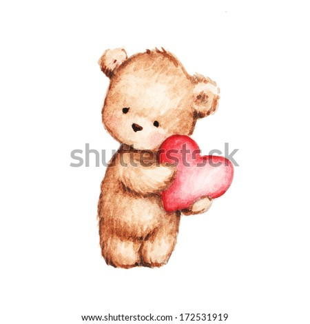 Drawing of Cute Teddy Bear with Heart - stock photo