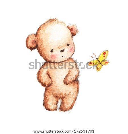 Drawing of Cute Teddy Bear with Yellow Butterfly - stock photo