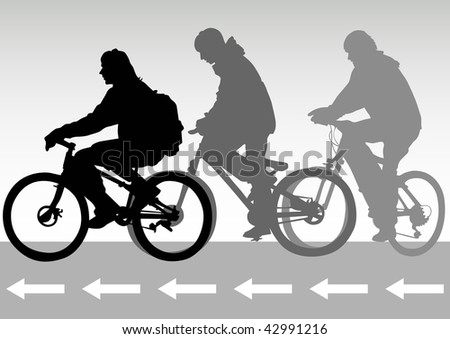drawing of cyclists on the road
