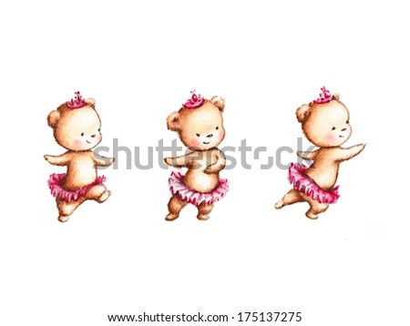 Drawing of Dancing Teddy Bear in Pink Skirt and Crown - stock photo