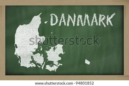 drawing of denmark on blackboard, drawn by chalk