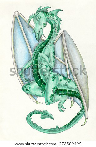 Drawing of dragon. Authentic drawing from my imagination. Green, blue, grey.  - stock photo