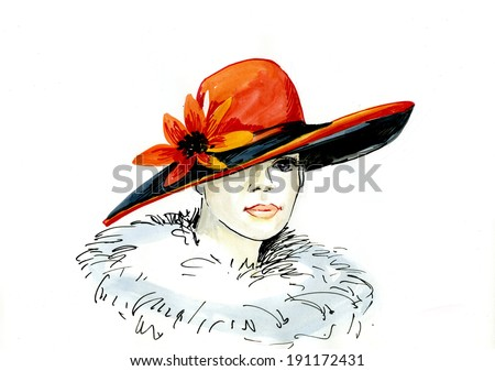 drawing of elegant woman in hat. watercolor painting - stock photo