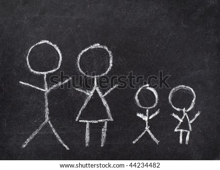 drawing of family on chalkboard - stock photo