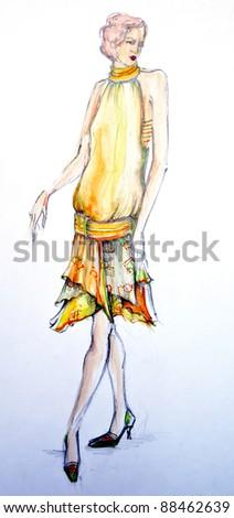 Drawing of fashion model - stock photo