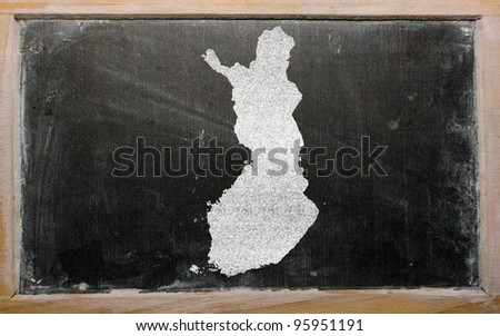 drawing of finland on blackboard, drawn by chalk - stock photo