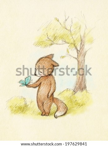 drawing of fox and butterfly  - stock photo