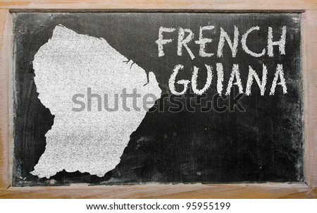 drawing of french guiana on blackboard, drawn by chalk