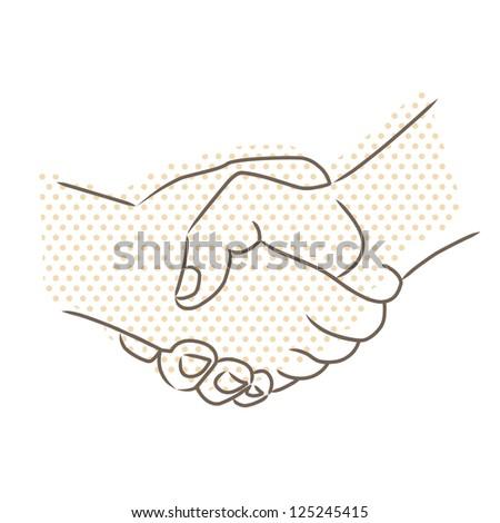 Drawing of handshake. Raster version - stock photo