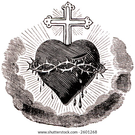 Drawing of heart and thorns - stock photo