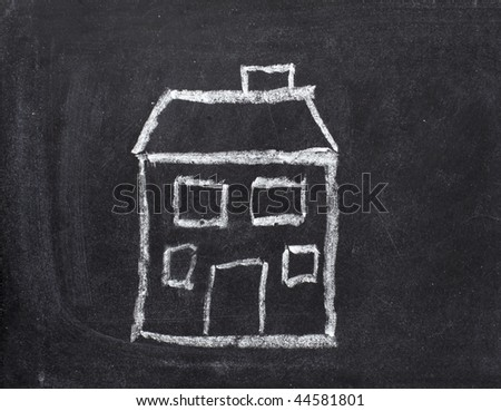 drawing of house  on chalkboard - stock photo