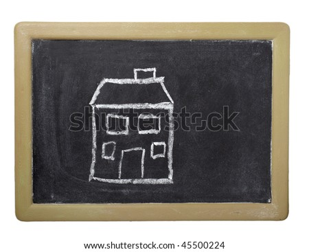 drawing of house  on chalkboard on white background with clipping path - stock photo