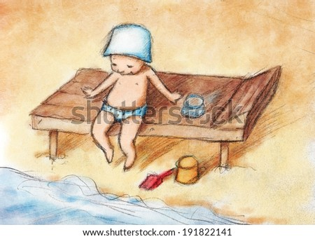 Drawing of kid at the beach - stock photo