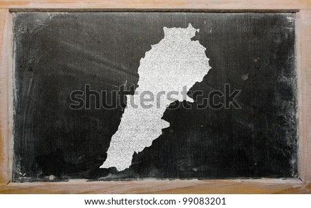 drawing of lebanon on blackboard, drawn by chalk - stock photo