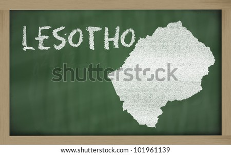 drawing of lesotho on blackboard, drawn by chalk