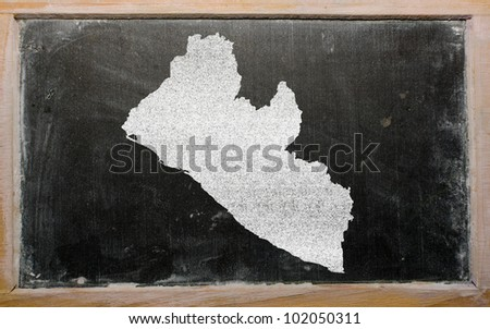 drawing of liberia on blackboard, drawn by chalk