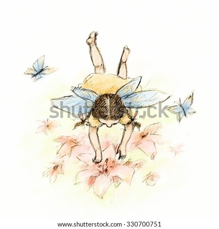 Drawing of little fairy flying over flowers