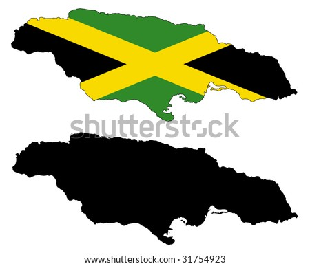drawing of map and flag of Jamaica.