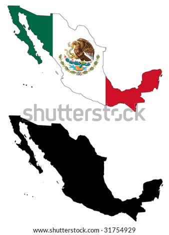 drawing of map and flag of Mexico.