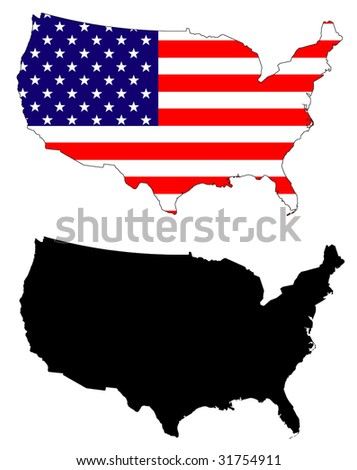 drawing of map and flag of USA.