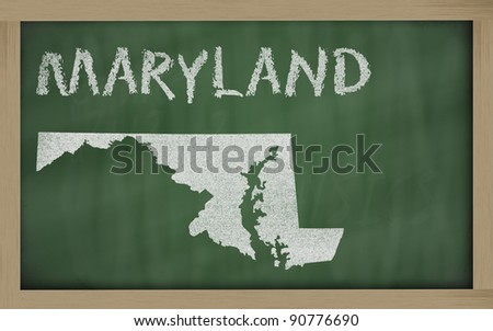 drawing of maryland state on chalkboard, drawn by chalk - stock photo