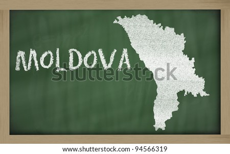 drawing of moldova on chalkboard, drawn by chalk