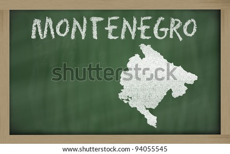 drawing of montenegro on chalkboard, drawn by chalk