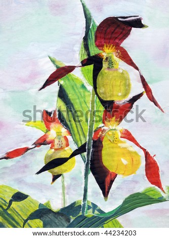 drawing of nice flowers - stock photo