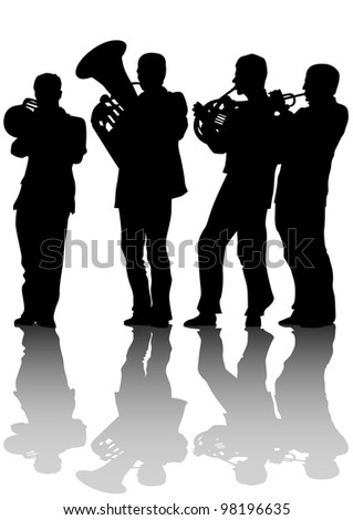 drawing of old jazz orchestra - stock photo