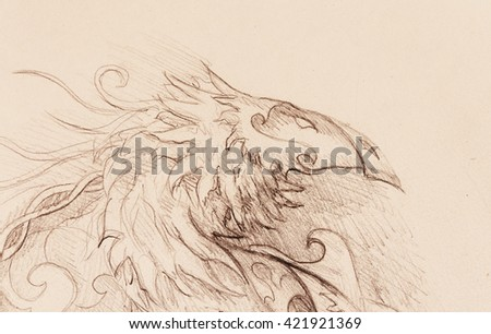 drawing of ornamental animal on old paper background.