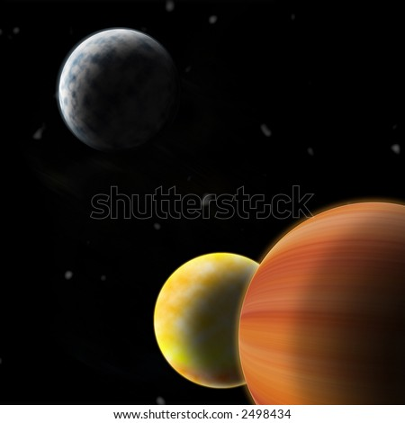 drawing of outer space three bright planets