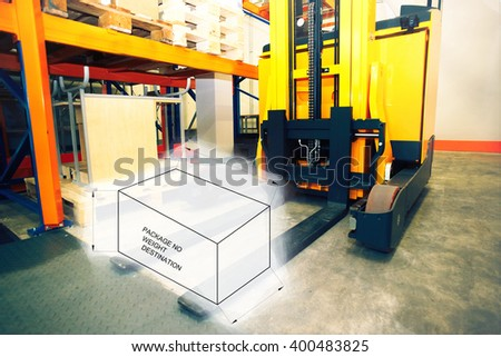 Drawing of package box combined with picture of shelves, racks and forklift  with pallets in distribution warehouse interior             - stock photo