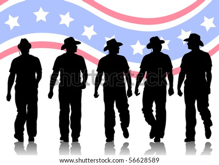 drawing of people in cowboy hats. Silhouettes on white background