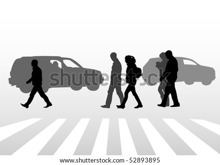 drawing of people on street. Silhouettes of peoplе on street