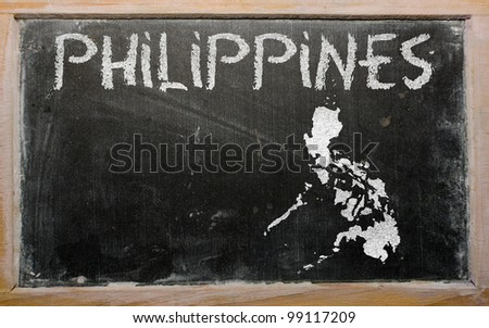 drawing of philippines on blackboard, drawn by chalk - stock photo