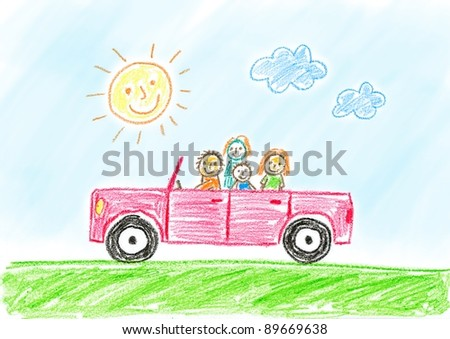 Drawing of red car with family - stock photo
